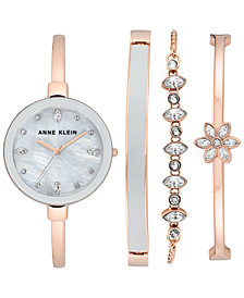 Anne Klein Women's Rose Gold-Tone Bangle Bracelet Watch Set 32mm