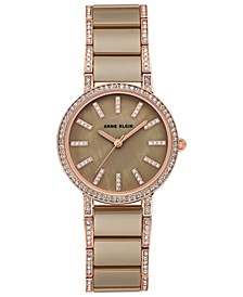 Women's Khaki Ceramic and Rose Gold-Tone Bracelet Watch 34mm