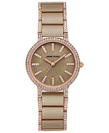 Anne Klein Women's Khaki Ceramic and Rose Gold-Tone Bracelet Watch 34mm