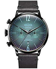 Men's Black Leather Strap Watch 45mm