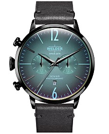 WELDER Men's Black Leather Strap Watch 45mm