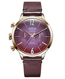 WELDER Women's Burgundy Leather Strap Watch 38mm