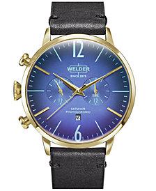 WELDER Men's Black Leather Strap Watch 45mm