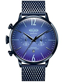 Men's Blue Stainless Steel Mesh Bracelet Watch 45mm