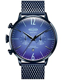 WELDER Men's Blue Stainless Steel Mesh Bracelet Watch 45mm