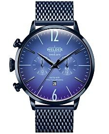 WELDER Men's Blue Stainless Steel Mesh Bracelet Watch 45mm