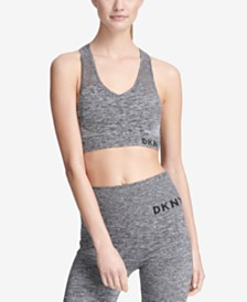 DKNY Sport Mesh Racerback Medium-Impact Sports Bra, Created for Macy's