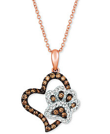 "Le Vian® Diamond Paw Print & Heart 20"" Pendant Necklace (1/2 ct. t.w.) in 14k Rose Gold"