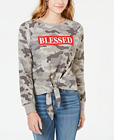 Pretty Rebellious Juniors' Blessed Tie-Front Sweatshirt