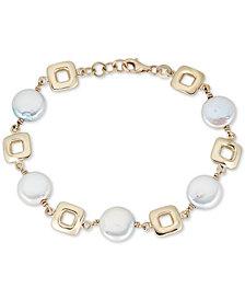 Freshwater Coin Pearl (10mm) Link Bracelet in 14k Gold