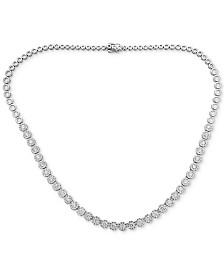 "Diamond Halo 18"" Statement Necklace (7 ct. t.w.) in 14k White Gold"