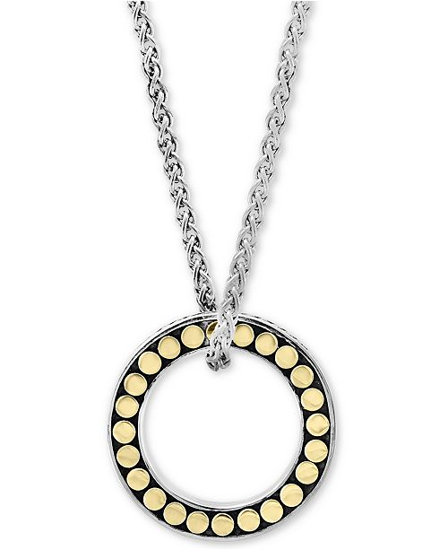 "EFFY Collection EFFY® Circle Disc 18"" Pendant Necklace in Sterling Silver & 18k gold-plated sterling silver"