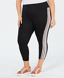 Ideology Plus Size Wavy-Stripe Cropped Leggings, Created for Macy's