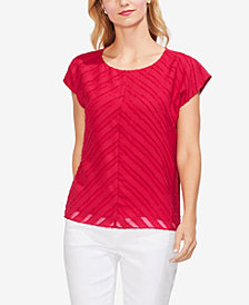 Vince Camuto Diagonal-Striped Cap-Sleeve Top