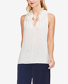 Vince Camuto Lace-Trim Ruffled Blouse