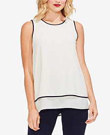 Vince Camuto Piped Tiered-Hem Top
