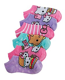6-Pack No-Show Socks, Little Girls & Big Girls