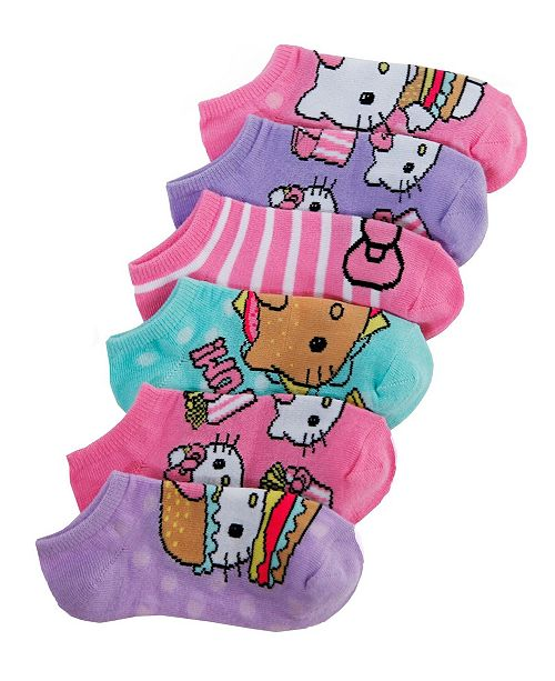 3b8ad1c07 Hello Kitty Princess 6-Pack No-Show Socks, Little Girls & Big Girls ...