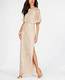 Beaded Wide-Sleeve Gown