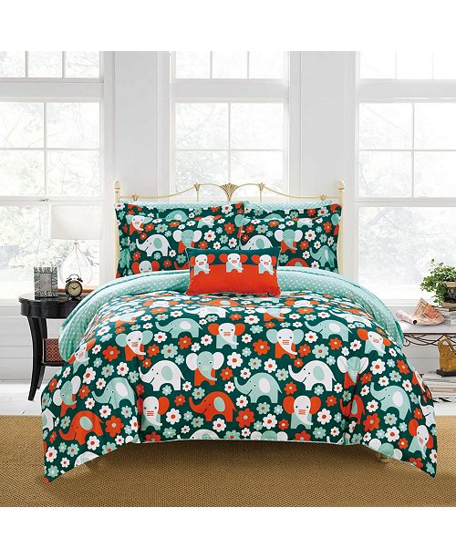 Chic Home Elephant Reprise 8 Piece Full Bed In a Bag Comforter Set