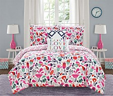 Tulip Garden 7 Piece Twin Bed In a Bag Comforter Set
