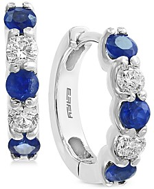 EFFY Sapphire (3/4 ct. t.w.) and Diamond (3/8 ct. t.w.) Hoop Earrings in 14K White Gold