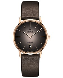 Hamilton Men's Swiss Automatic Intra-Matic Automatic Brown Leather Strap Watch 38mm