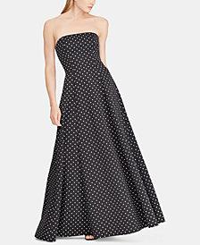 Lauren Ralph Lauren Polka-Dot Fit & Flare Gown