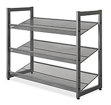 Steel Mesh 3-Tier Shoe Rack