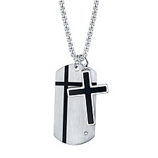 "He Rocks Cross and Tag Pendant in Stainless Steel, 24"" Chain"