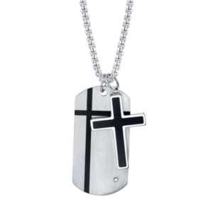 Cross and Tag Pendant in Stainless Steel