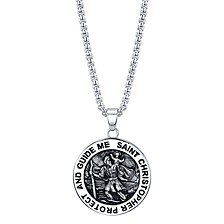 """Saint Christopher"" Coin Pendant Necklace in Stainless Steel, 24"" Chain"