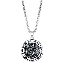 "He Rocks ""Saint Christopher"" Coin Pendant Necklace in Stainless Steel, 24"" Chain"