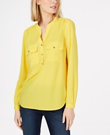 Charter Club Petite Knit-Back Utility Shirt, Created for Macy's