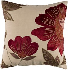"Rizzy Home 18"" x 18"" Floral Down Filled Pillow"