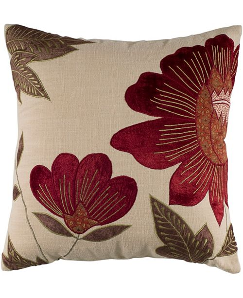 """Rizzy Home 18"""" x 18"""" Floral Down Filled Pillow"""