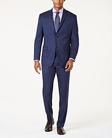 by Andrew Marc Men's Modern-Fit Stretch Dark Blue Glen Plaid Suit