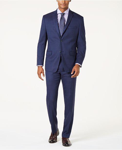 Marc New York by Andrew Marc Men's Modern-Fit Stretch Dark Blue Glen Plaid Suit