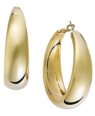 INC International Concepts Gold Tone Wide Hoop Earrings Jewelry