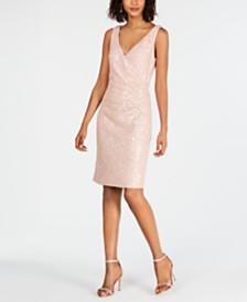 Vince Camuto Lace & Sequin Faux-Wrap Sheath Dress