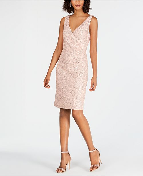 66ffecbf Vince Camuto Lace & Sequin Faux-Wrap Sheath Dress & Reviews ...