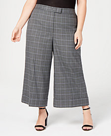 Anne Klein Plus Size Plaid Cropped Pants