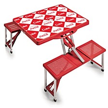 Oniva® by Coca-Cola Checkered Picnic Table Portable Folding Table with Seats