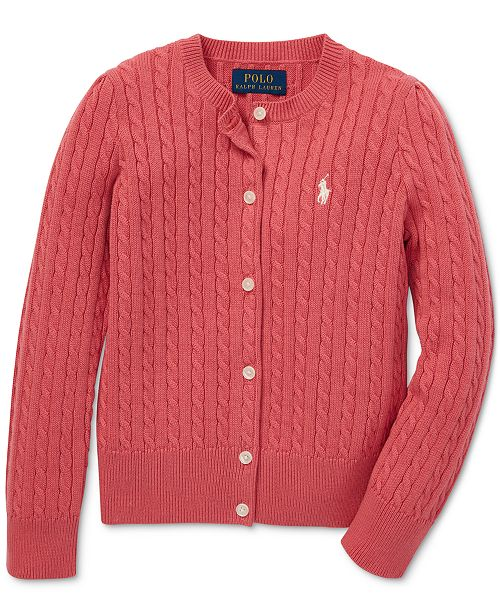 3f4944c2c38077 Polo Ralph Lauren Little Girls Cable-Knit Cotton Cardigan - Sweaters ...