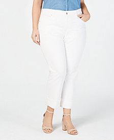 Jessica Simpson Juniors' Aarow White Plus Size Straight-Leg Jeans