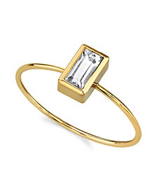 2028 14K Gold Dipped Rectangle Crystal Ring