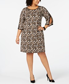 MSK Plus Size Animal-Print Split-Sleeve Dress