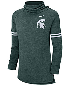 Nike Women's Michigan State Spartans Logo Funnel Neck Long Sleeve T-Shirt