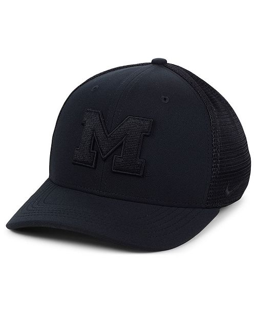 Nike Michigan Wolverines Aerobill Black Swoosh Cap - Sports Fan Shop ... 3478b70d799