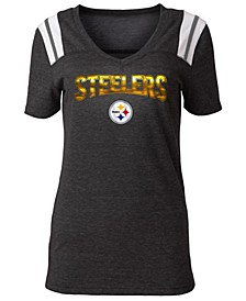 Women's Pittsburgh Steelers Shoulder Stripe Foil T-Shirt